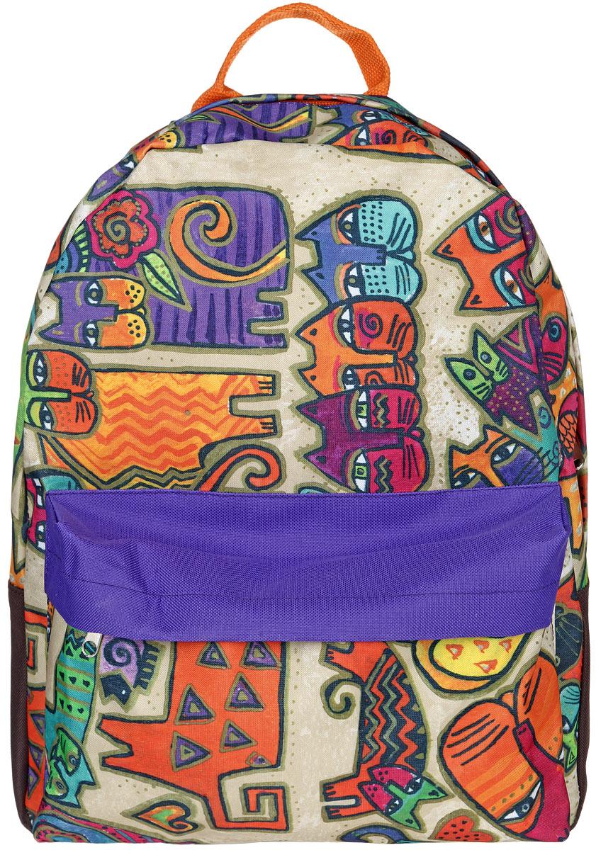 Рюкзак женский Antan, цвет: оранжевый, фиолетовый, бежевый. 6-76-7Стильный женский рюкзак Antan изготовлен из текстиля с оригинальным принтом. Изделие имеет одно отделение, которое закрывается на застежку-молнию с двумя бегунками. Внутри расположен мягкий карман для планшета. Снаружи, на передней стенке расположен объемный накладной карман на застежке-молнии. Изделие оснащено двумя лямками регулируемой длины с мягкой подкладкой и удобной ручкой. Такой рюкзак эффектно дополнит ваш образ и станет незаменимым в повседневной жизни или в путешествии.