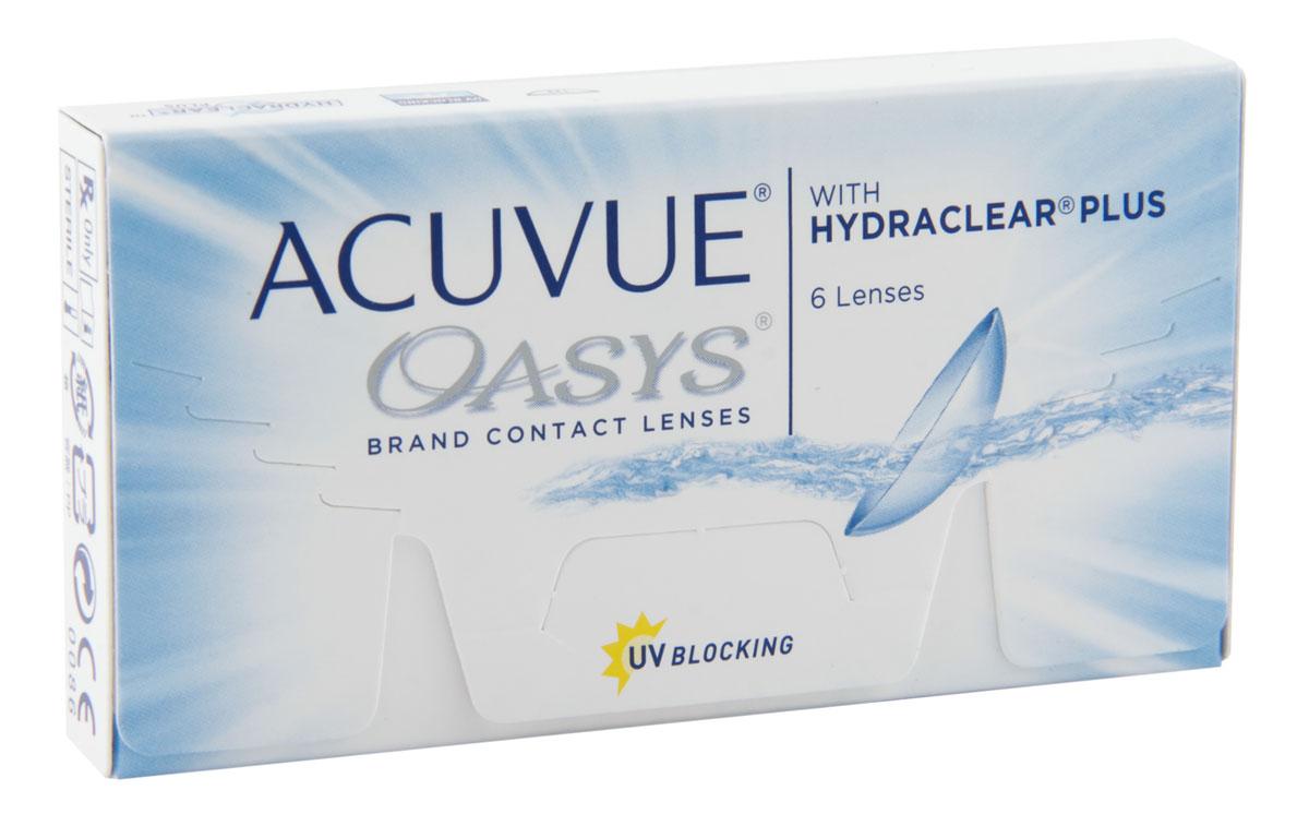 Johnson & Johnson контактные линзы Acuvue Oasys (6шт / 8.4 / -2.50)07575Acuvue Oasys With Hydraclear Plus являются двухнедельными контактными линзами, которые производит компания Johnson & Johnson. Эти линзы отлично подойдут людям, которые много времени проводят в сухих помещениях или людям которые вынуждены долго работать за компьютером. Технология Hydraclear Plus придает контактным линзам невероятно гладкий и мягкий эффект, создав максимально комфортные условия для ношения. А увлажняющий запатентованный агент внутри линзы, позволит вашим глазам быть увлажненными в течение всего дня. Acuvue Oasys создают из силиконо-гидрогелевого материала. Главной его особенностью остается высокий уровень поступления кислорода. Это позволит вашим глазам быть всегда здоровыми. Кроме этого линзы снабдили УФ-фильтром, который способен сдерживать УФ-A лучи (более 95%) и УФ-В лучи (99%). Можно носить Acuvue Oasys две недели, при этом дневной режим ношения не должен превышать 12 часов, либо можно носить постоянно 7 дней. Контактная линза Acuvue...
