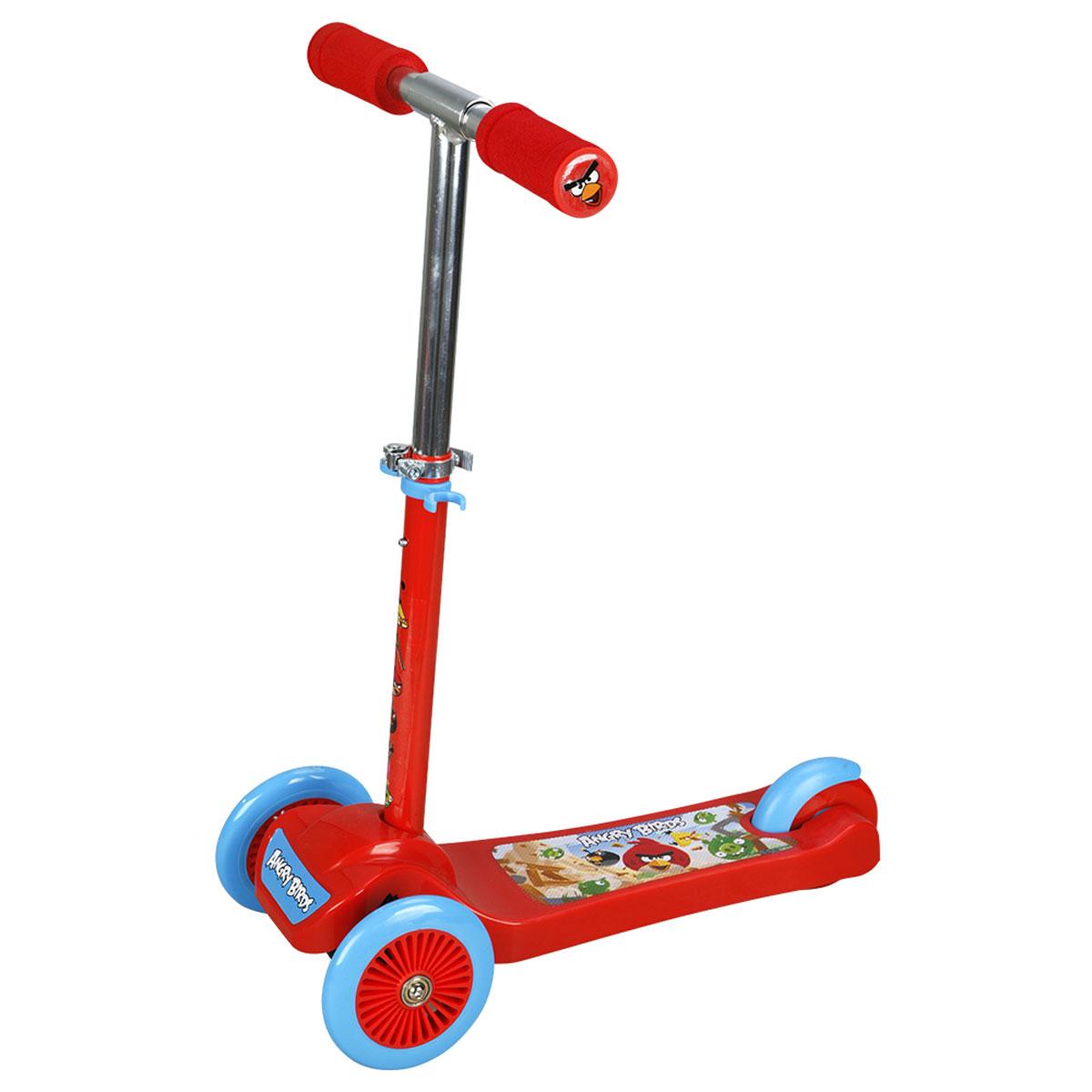 1TOY Самокат детский трехколесный Angry Birds цвет красныйТ57625Самокат 1toy Angry Birds 3-х колесный. Управление наклоном, PVC колеса, передние 2х120мм, заднее 100мм, алюминевый реулируемый руль, нейлон/пластик рама, тормоз