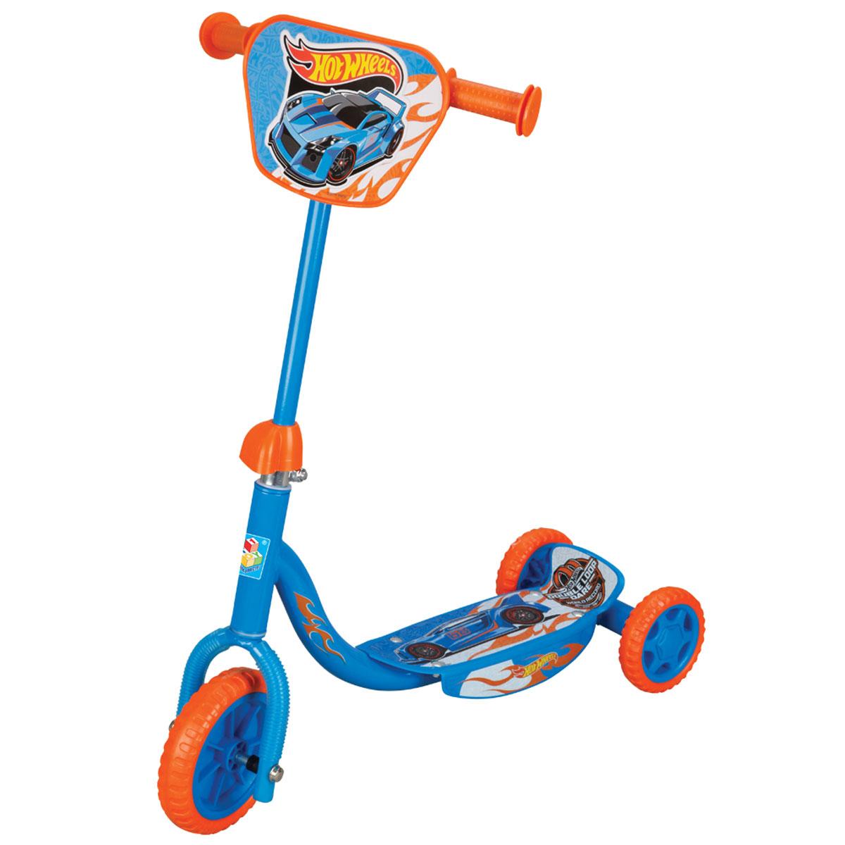 1TOY Самокат детский трехколесный Hot Wheels с декоративной панельюТ57645Самокат 1toy Hot wheels 3-х колесный, EVA колеса, декоративная панель