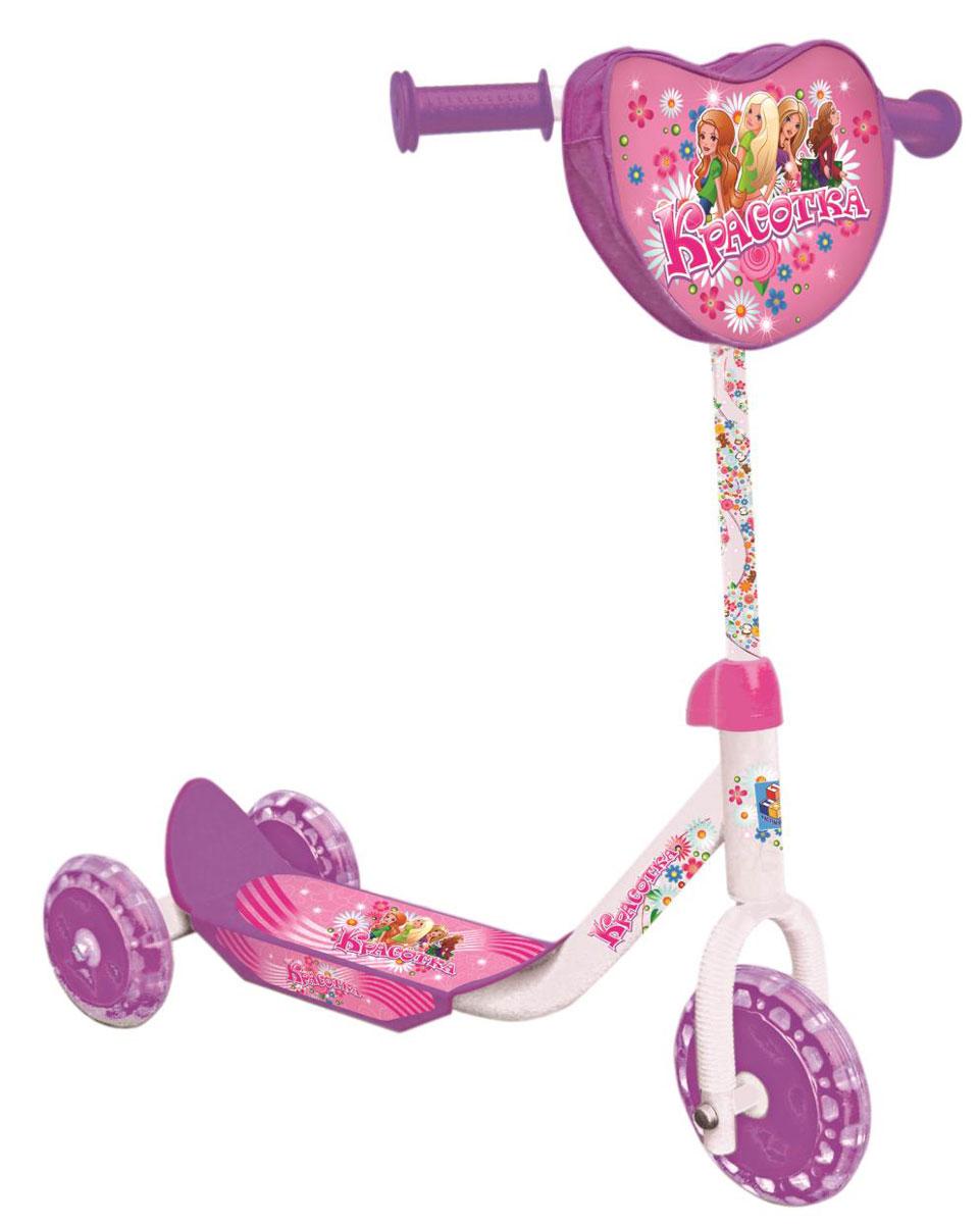 1TOY Самокат детский трехколесный Красотка цвет розовый белыйТ53991Самокат 1toy Красотка 3-х колеса. PVC колеса, сумка