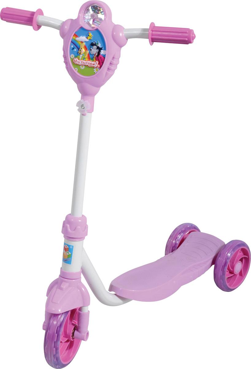 1TOY Самокат детский трехколесный Ну, погоди! цвет белый розовыйТ56800Самокат трехколесный Ну, погоди!, с вентелятором, рельефным рисунком