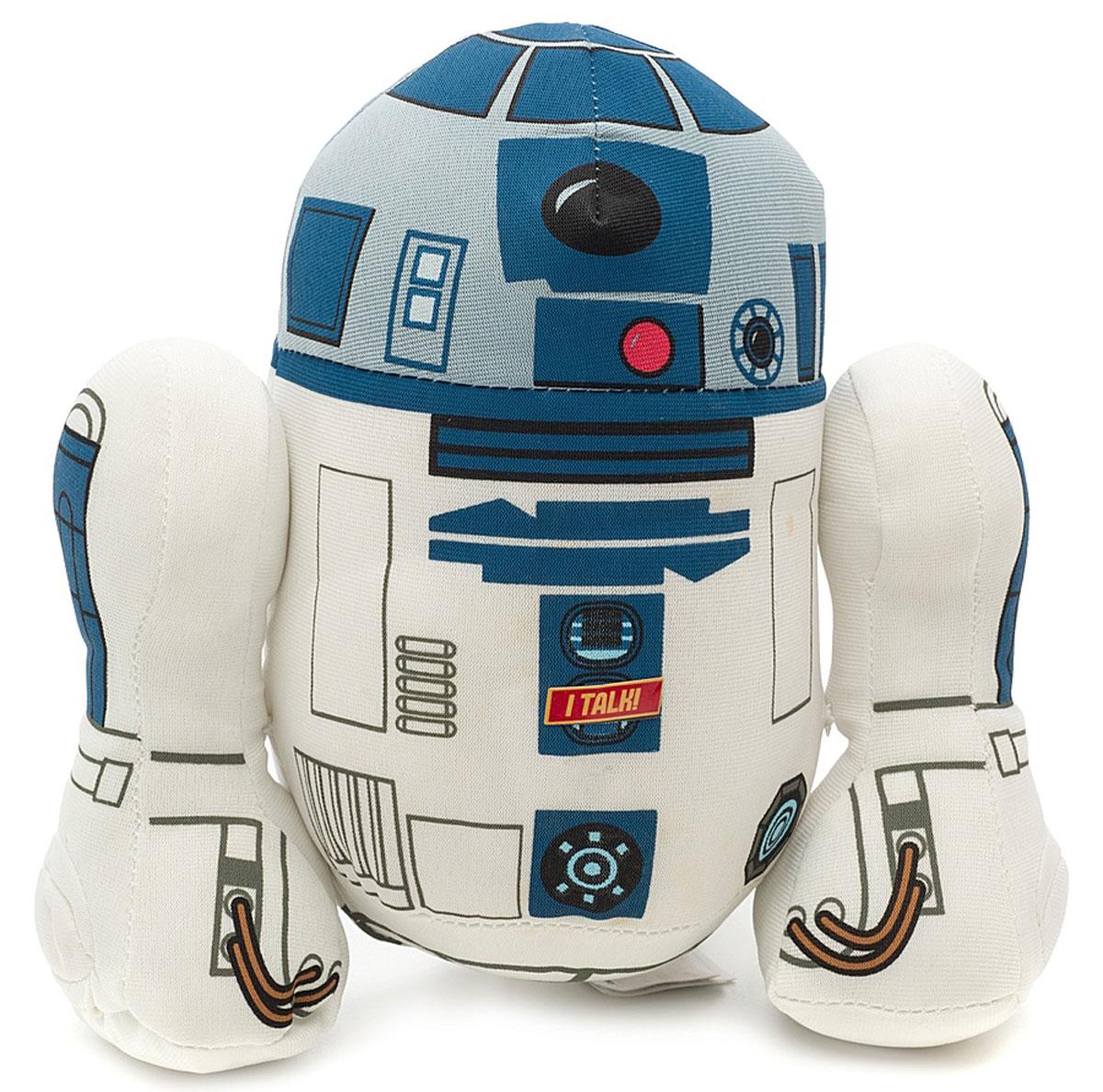 Star Wars Мягкая озвученная игрушка R2-D2 18 смSW02368Мягкая озвученная игрушка Star Wars R2-D2 порадует любого поклонника знаменитой саги Звездные войны. Игрушка выполнена из высококачественного текстильного материала в виде робота R2-D2. При нажатии на живот игрушки, она издаст характерные для персонажа писк и электронные сигналы. Р2-Д2 - изобретательный и преданный робот. Легкий дроид, Р2 часто бросается в опасные ситуации без раздумий. Эта авантюрность спасает всех в дни многочисленных происшествий, часто изменяющих ход истории галактики. Оригинальная мягкая игрушка непременно поднимет настроение своему обладателю и станет замечательным подарком любому ребенку или взрослому, увлеченному вселенной Звездных войн. Рекомендуется докупить 3 батарейки напряжением 1,5V типа LR44/AG13 (товар комплектуется демонстрационными).