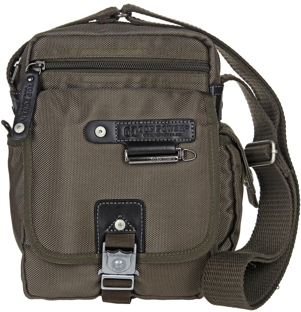 Сумка-планшет мужская Top Power, цвет: хаки. 1385 TP1385 TP khakiСтильная мужская сумка-планшет Top Power выполнена из нейлона, полиэстера и искусственной кожи. Изделие имеет одно основное отделение, которое закрывается на застежку-молнию. Внутри находится прорезной карман на застежке-молнии, два накладных открытых кармана и накладной карман, закрывающийся на клапан с застежкой-липучкой. Снаружи, на передней стенке располагается прорезной карман на застежке-молнии, под клапаном с застежкой-защелкой - два накладных открытых кармана и два держателя для авторучек. По бокам накладные карманы, один из которых закрывается на застежку-липучку, второй - на клапан с застежкой-липучкой. На задней стенке предусмотрен дополнительный прорезной карман на застежке-молнии. Сумка оснащена текстильным плечевым ремнем регулируемой длины. Удобная и стильная сумка Top Power призвана подчеркнуть ваш неповторимый стиль.