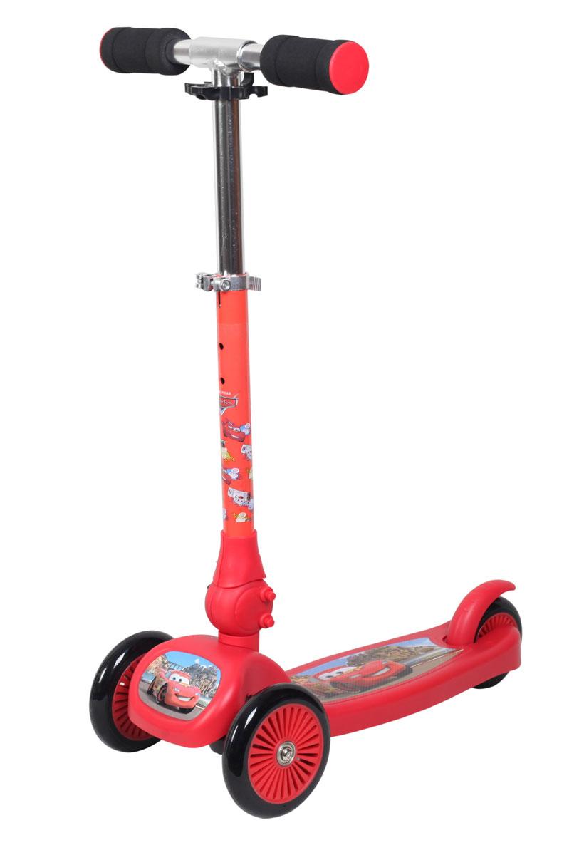 Disney Самокат детский трехколесный Тачки матовыйТ58425Самокат Disney Тачки 3-х колесный. Управление наклоном, PU колеса, передние 2х120мм, заднее100мм, регулируемый складной алюминевый руль, тормоз, матовый