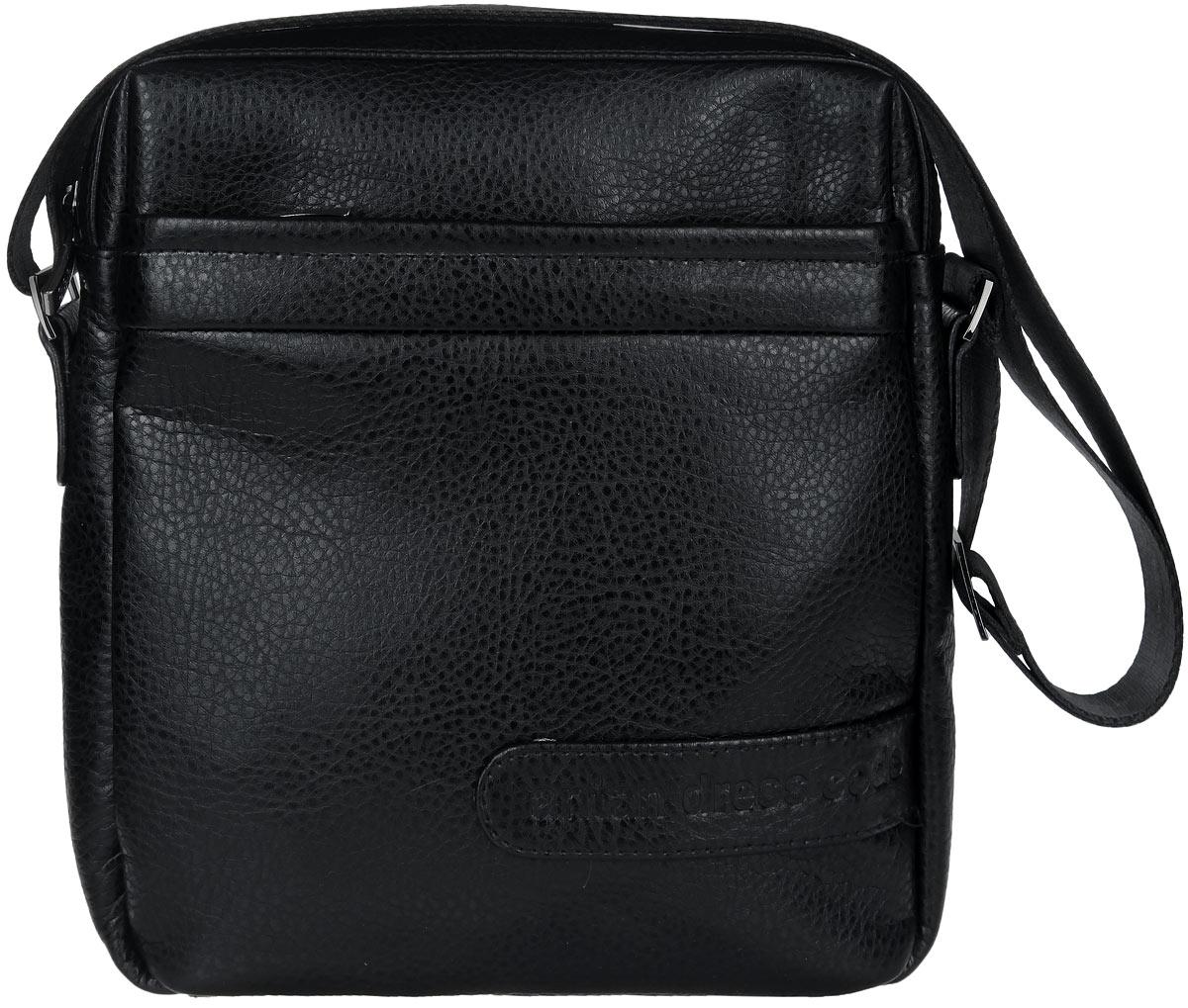 Сумка мужская Antan, цвет: черный. 8-98-9Стильная мужская сумка Antan изготовлена из искусственной кожи. Модель имеет одно основное отделение, закрывающееся на застежку-молнию. Внутри имеется прорезной карман на застежке-молнии и два накладных открытых кармана. Снаружи, на передней и задней стенках расположены накладные карманы на застежках-молниях. Изделие оснащено текстильным плечевым ремнем, который регулируется по длине. Сумка Antan поможет вам подчеркнуть чувство стиля и завершить выбранный образ.