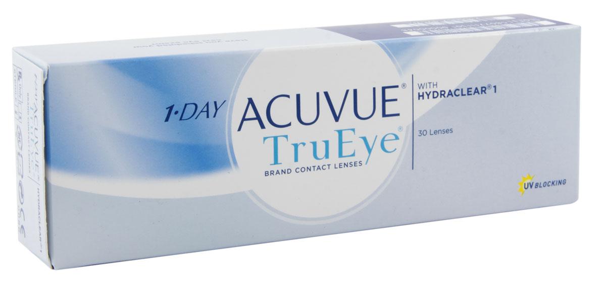 Johnson & Johnson контактные линзы 1-Day Acuvue TruEye (30шт / 8.5 / -4.25)12300Контактные линзы 1-Day Acuvue TruEye - сенсационная новинка от всемирного лидера по производству контактных линз, компании Johnson&Johnson. Качество, надежность, комфорт. Линзы 1-Day Acuvue TruEye - однодневные силикон-гидрогелевые линзы. Они изготовлены из воздухопроницаемого материала нарафилкон А, благодаря которому удалось достичь потрясающих показателей по кислородопроницаемости. Коэффициент пропускания кислорода (Dk/t) равен 118. А применение технологии Hydraclear делает линзы ультрагладкими. Благодаря этому линзы 1-Day Acuvue TruEye совершенно не ощутимы на глазах. Кроме того, линзы 1-Day Acuvue TruEye обладают высшим уровнем защиты от УФ-излучения. Все эти характеристики делают их незаменимыми и непревзойденными помощниками в условиях агрессивной среды большого города.