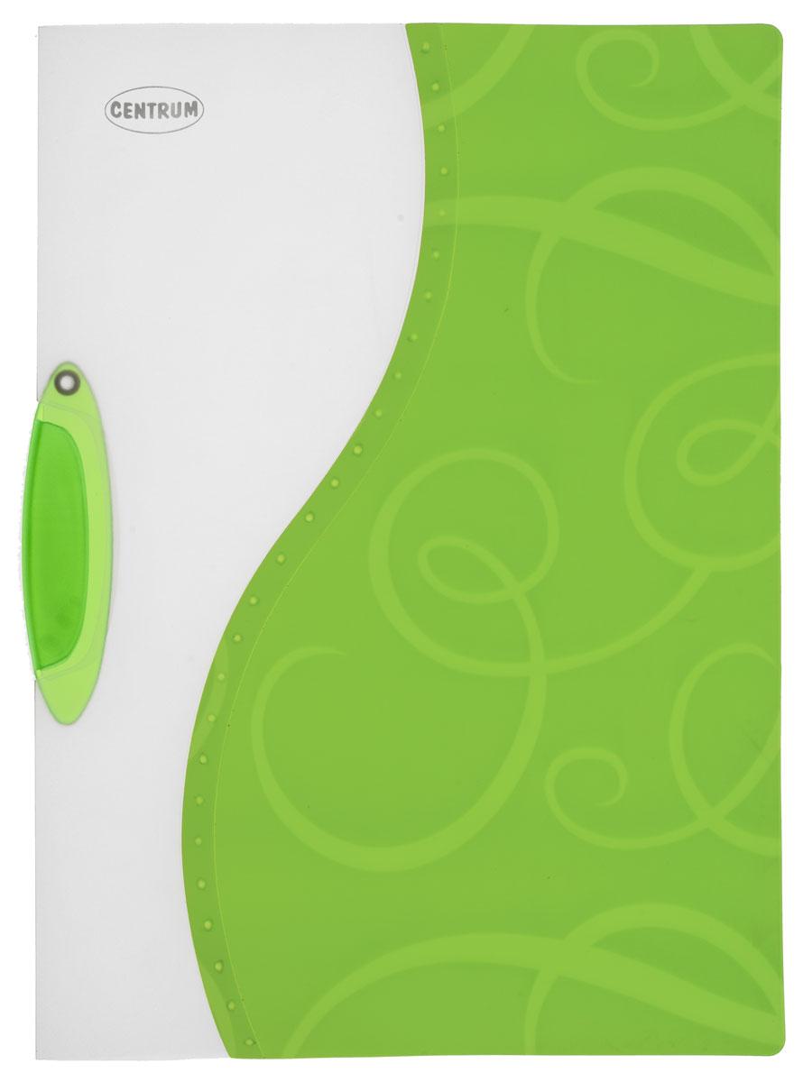 Centrum Папка с клипом цвет белый зеленый формат A4 83618_зелёный