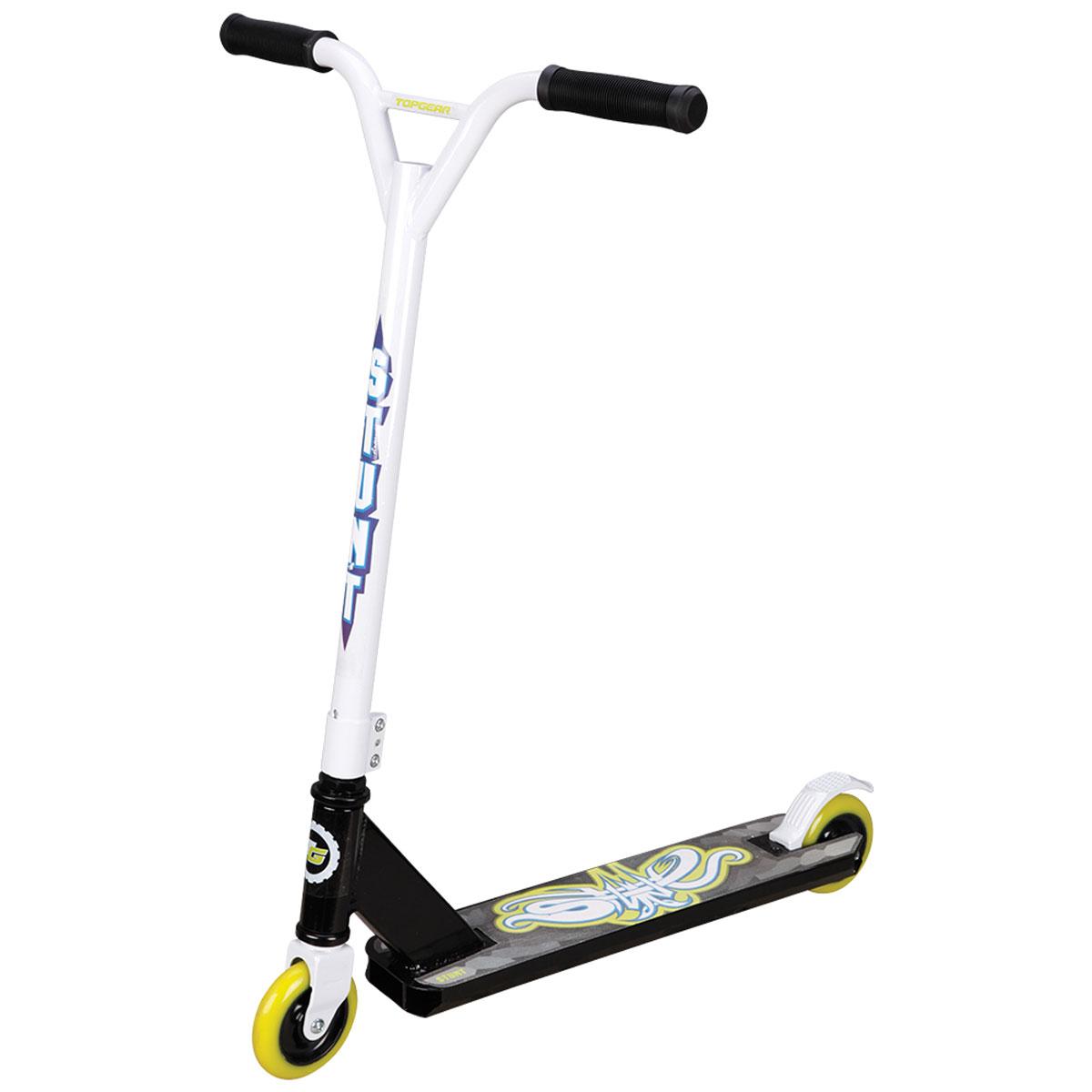 TopGear Самокат детский двухколесный для трюков цвет черный белыйТ57603Самокат TOPGEAR для трюков, 2-х колесный. Алюминий, PU колеса 100мм, грузоподъемность до 100кг, тормоз, подшипн.ABEC-9,обода ABS