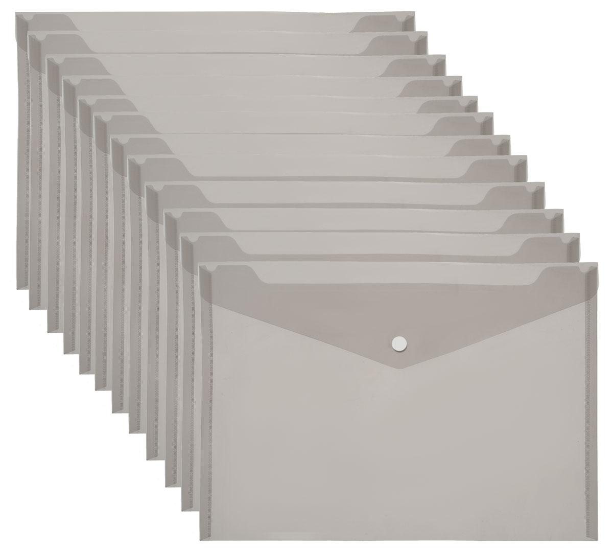 Centrum Папка-конверт на кнопке цвет серый формат A4 12 шт83024О_серыйПапка-конверт Centrum - это удобный и практичный офисный инструмент, предназначенный для хранения и транспортировки рабочих бумаг и документов формата А4. Папка изготовлена из полупрозрачного матового пластика серого цвета. Закрывается на клапан с пластиковой кнопкой. В комплект входят 12 папок формата А4. Папка - это незаменимый атрибут для студента, школьника, офисного работника. Такая папка надежно сохранит ваши документы и сбережет их от повреждений, пыли и влаги.