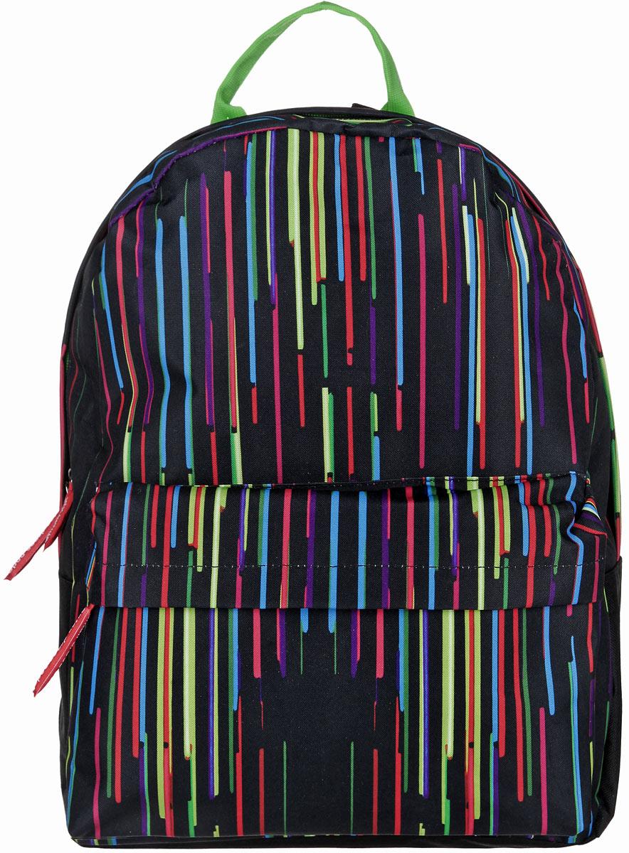 Рюкзак Antan, цвет: черный, салатовый, голубой. 6-76-7Стильный рюкзак Antan изготовлен из текстиля с оригинальным ярким принтом. Изделие имеет одно отделение, которое закрывается на застежку-молнию с двумя бегунками. Внутри расположен мягкий карман для планшета. Снаружи, на передней стенке расположен объемный накладной карман на застежке-молнии. Изделие оснащено двумя лямками регулируемой длины с мягкой подкладкой и удобной ручкой. Такой рюкзак эффектно дополнит ваш образ и станет незаменимым в повседневной жизни или в путешествии.