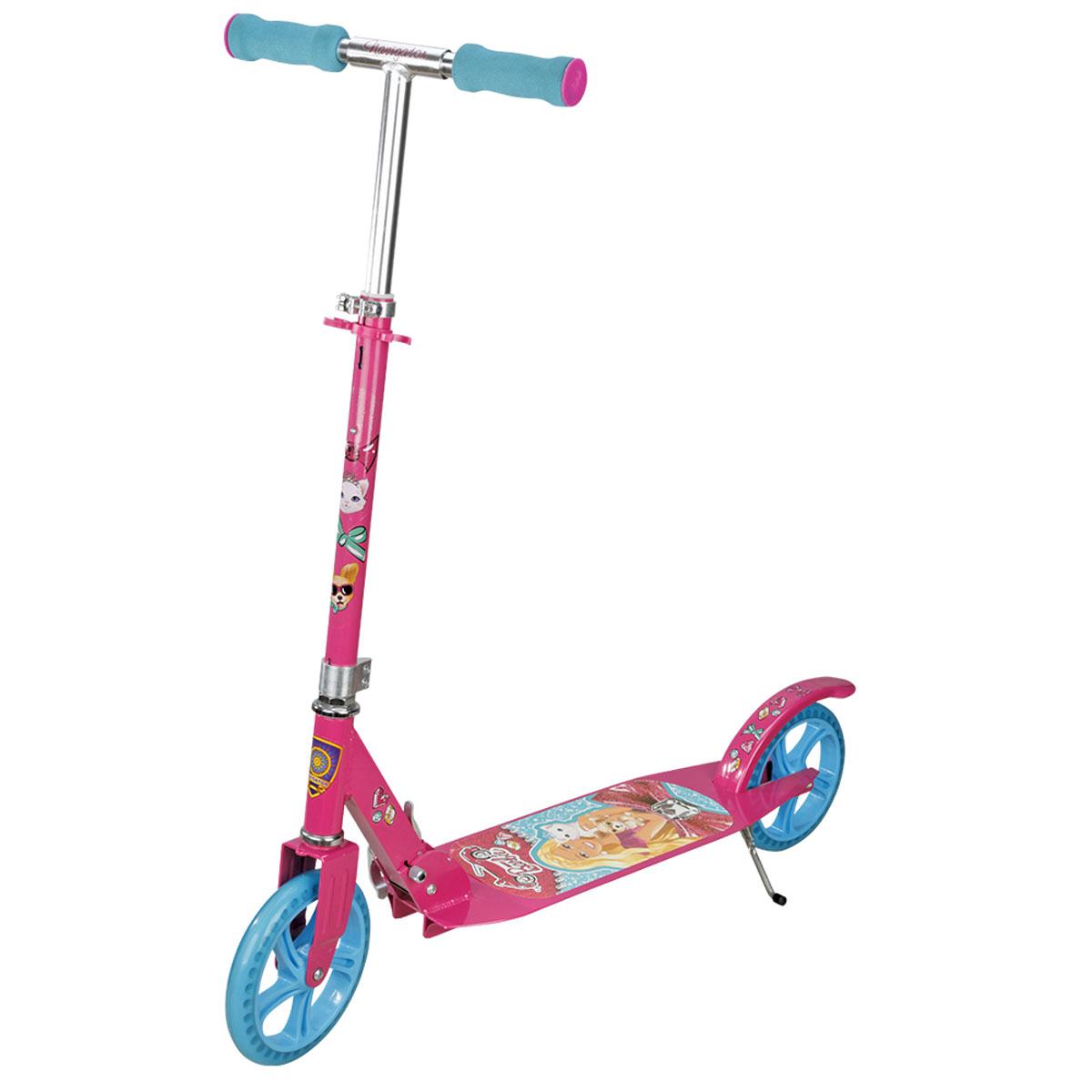 Navigator Самокат детский двухколесный Barbie цвет розовый голубойТ57602Самокат Navigator Barbie 2-х колесный. Алюминий, PU колеса 200мм, подножка, тормоз.