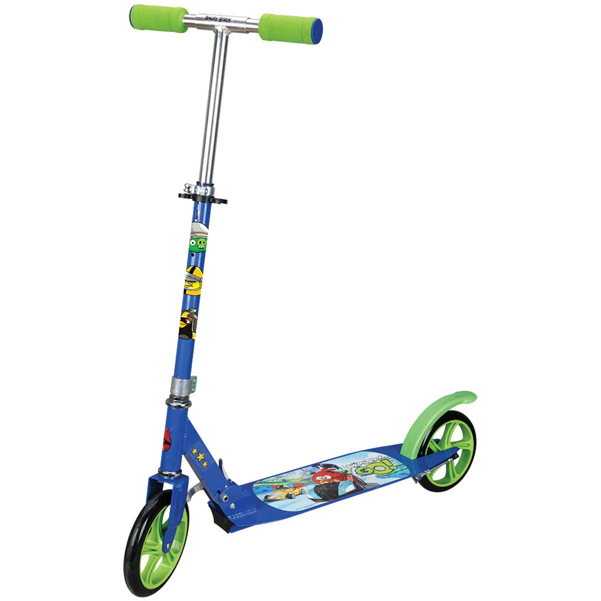 Navigator Самокат детский двухколесный Angry Birds Go цвет синий зеленыйТ57646Самокат Navigator Angry Birds Go 2-х колесный. Алюминий, PU колеса 200мм, подножка ,тормоз