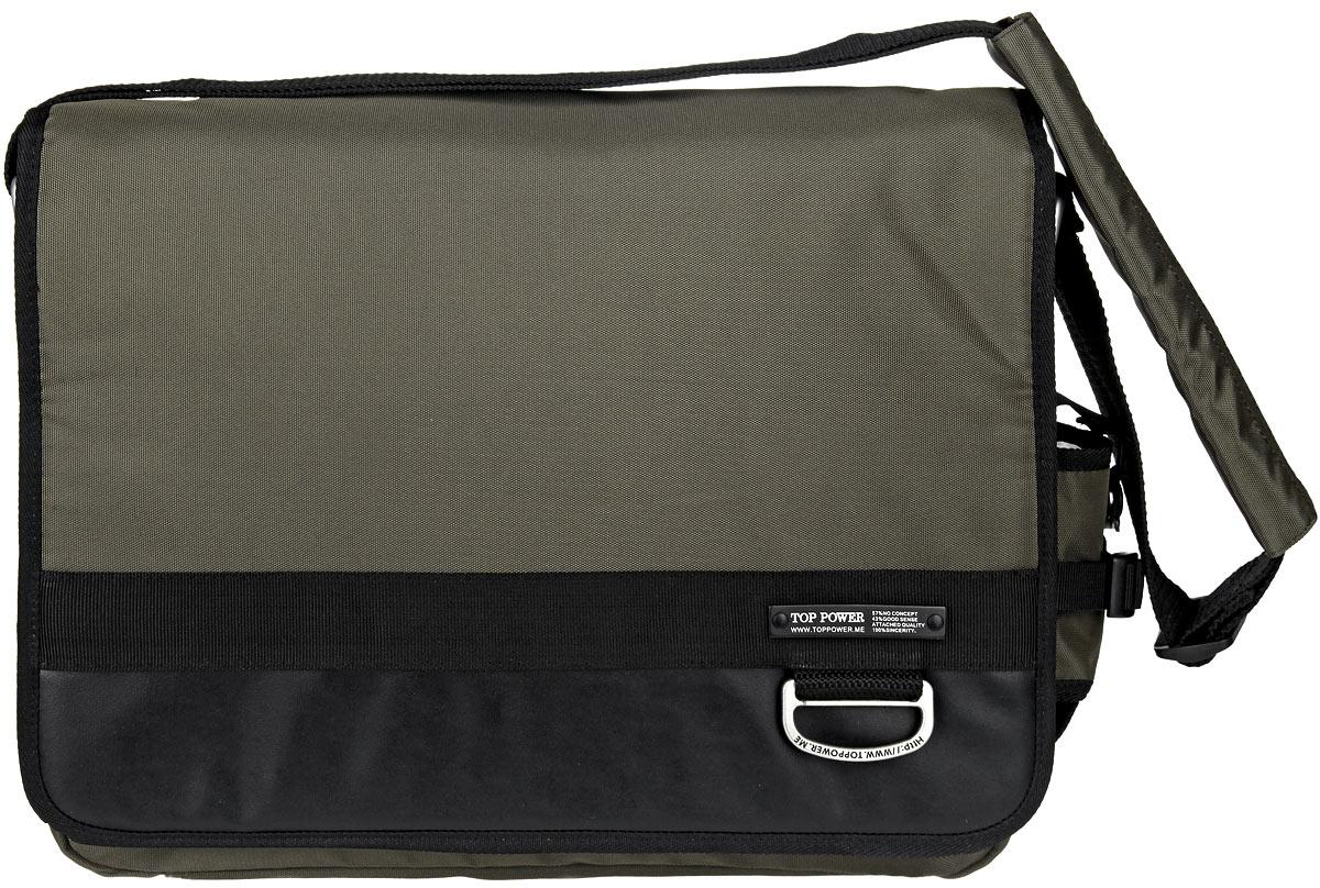 Сумка-планшет мужская Top Power, цвет: хаки. 947 TP947 TP khakiСтильная мужская сумка-планшет Top Power выполнена из плотного полиэстера, нейлона и натуральной кожи. Сумка имеет одно вместительное отделение, закрывающееся на застежку- молнию. Внутри находится прорезной карман на застежке-молнии. Закрывается изделие на клапан с застежкой-липучкой. На передней стенке, под клапаном, находится накладной карман на застежке-молнии, три держателя для авторучек, четыре накладных открытых кармана, один из которых закрывается на застежку-липучку. На задней стенке сумки расположен дополнительный прорезной карман на застежке-молнии. На одной из боковых сторон находится накладной карман, закрывающийся на эластичный шнурок со стоппером. Сумка оснащена текстильным плечевым ремнем регулируемой длины. Стильная сумка - необходимый аксессуар для современного мужчины.