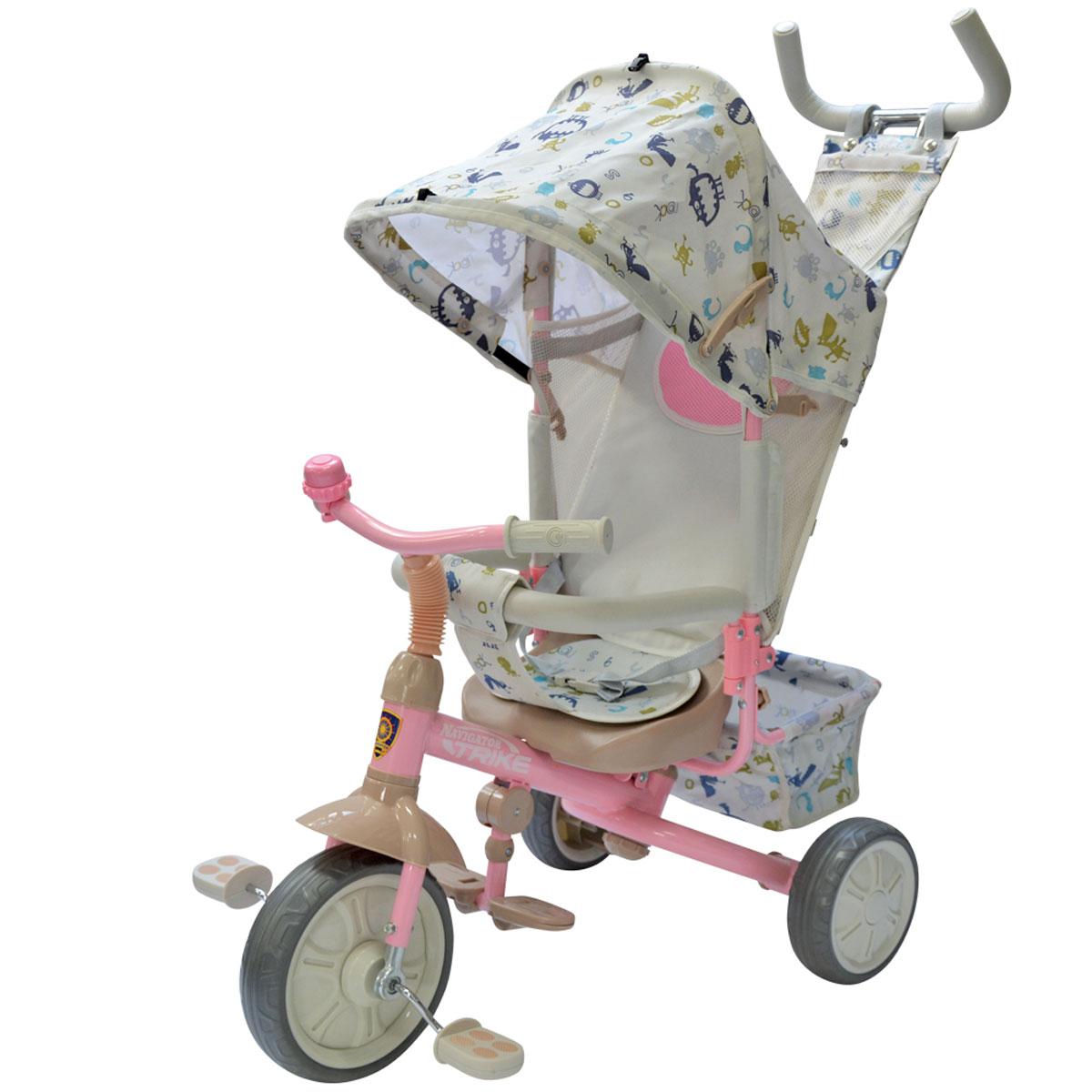 Navigator Велосипед детский трехколесный Lexus цвет белый розовый белыйТ57664Трехколесный велосипед Navigator Lexus с утолщенными колесами. Независимая управляющая ручка, свободный ход педалей, тяга, разъемный страховочный обод, колясочный тент, регулируемая спинка, складная подножка, корзина, тормоз