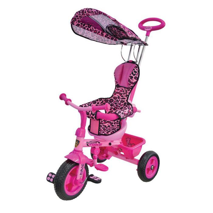 Navigator Велосипед детский трехколесный Lexus Trike Сафари цвет розовыйТ56790Велосипед Navigator Lexus Trike серия Сафари 3-х колесный Пластиковые колеса, свободный ход педалей, тяга, независимая управляющая ручка, тент, регулируемое сиденье, подножка, тормоз, страховочный обод, звонок, корзина, сумка.