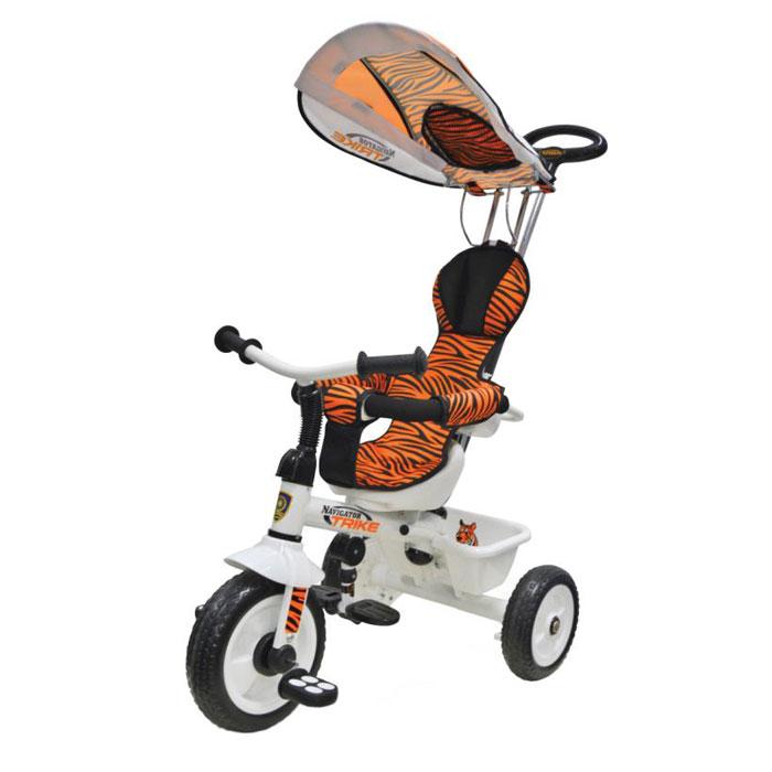 Navigator Велосипед детский трехколесный Lexus Trike Сафари цвет оранжевый черныйТ56791Велосипед Navigator Lexus Trike серия Сафари 3-х колесный Пластиковые колеса, свободный ход педалей, тяга, независимая управляющая ручка, тент, регулируемое сиденье, подножка, тормоз, страховочный обод, звонок, корзина.