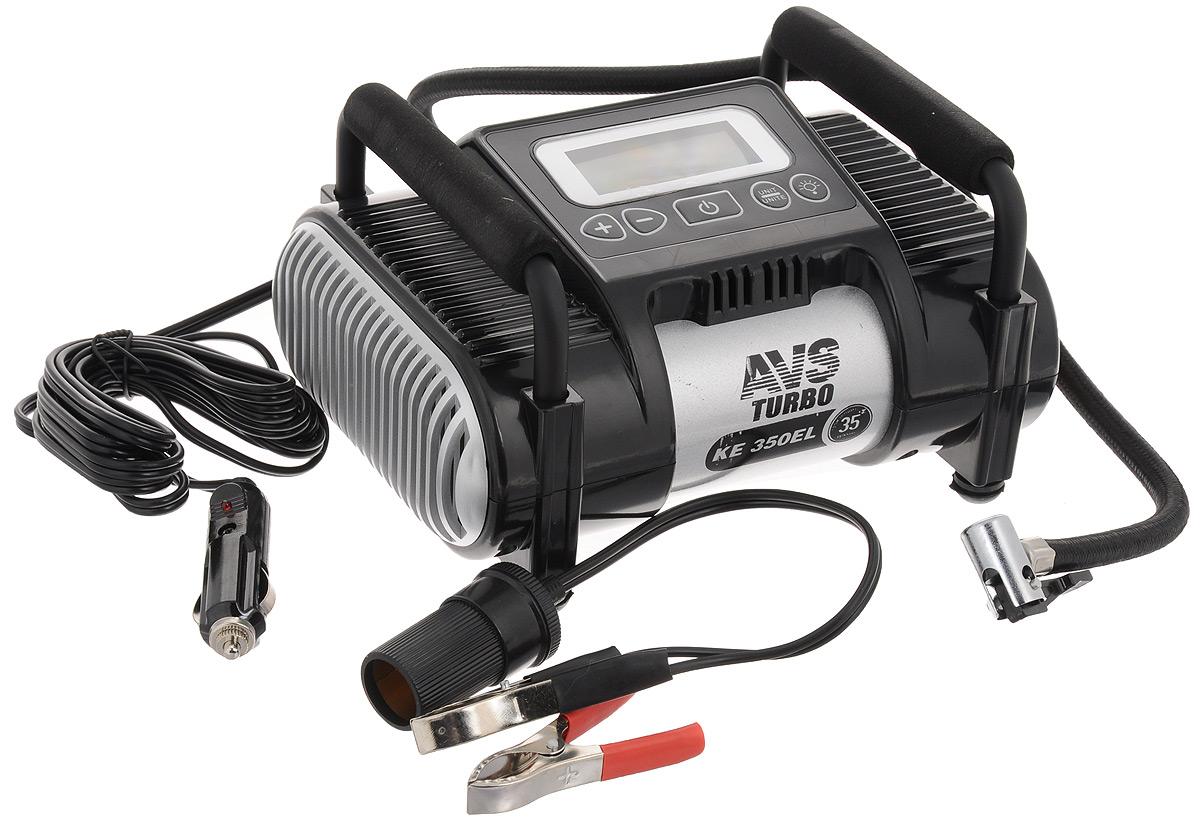 Компрессор автомобильный AVS KE350ELA80825SАвтомобильный компрессор AVS KE350EL предназначен для накачки воздухом шин легковых и коммерческих автомобилей. Рабочее напряжение компрессора - 12В. Высокая производительность делает возможным более широкое применение. Автомобильный компрессор может быть использован для накачки мячей, матрасов, проведения покрасочных работ. Преимущества: Современный дизайн. Высокотехнологичная сборка (основные детали сделаны из нержавеющей стали). Высокоточный электронный манометр. Автоматический фиксатор давления отключит компрессор в тот момент, когда давление колеса достигнет установленного вам значения. Резиновые ножки. Автоматическая система защиты от перегрева. Сигнал аварийной остановки. Набор насадок и сумка для хранения в комплекте. Напряжение: 12В. Максимальный ток потребления: 14 А. Максимальное давление: 10 Атм. Производительность: 35 л/мин. Рабочая температура: от -35°С до +80°С. Масса: 2 кг.
