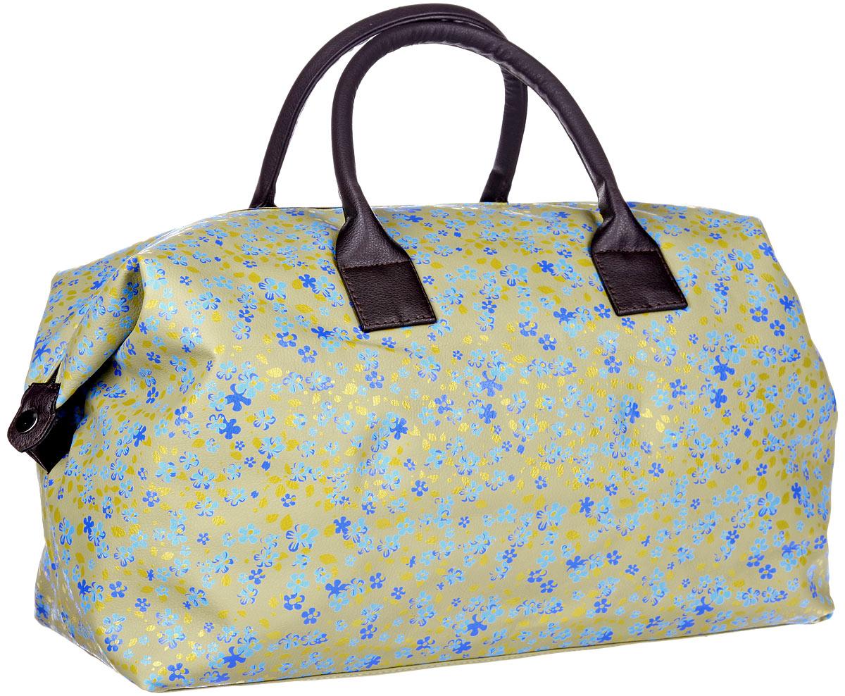 Сумка дорожная Antan, цвет: оливковый, голубой, синий. 2-3792-379Стильная дорожная сумка Antan выполнена из искусственной кожи с ярким цветочным принтом. Сумка состоит из одного вместительного отделения, закрывающегося на застежку-молнию. Внутри расположен прорезной карман на застежке-молнии. Снаружи, на задней стенке расположен прорезной карман на застежке-молнии. Изделие оснащено двумя прочными ручками. По бокам сумки размещены застежки-кнопки. Такая сумка идеально подойдет для поездок и походов в спортивный зал, в нее можно положить все необходимое. С этим аксессуаром вы всегда будете выглядеть современно и модно.