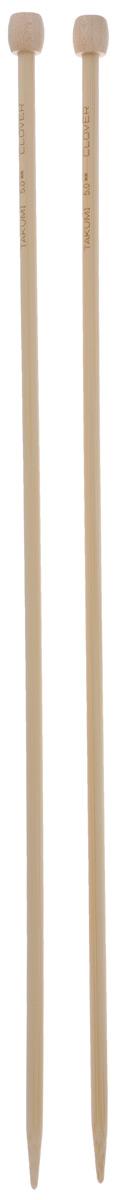 """Спицы """"Clover"""", бамбуковые, прямые, диаметр 5 мм, длина 33 см, 2 шт"""