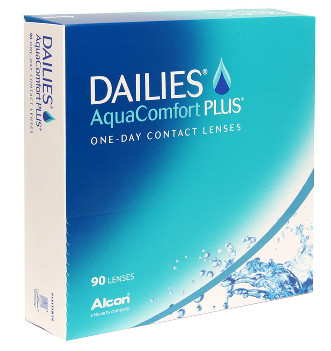 Alcon-CIBA Vision контактные линзы Dailies AquaComfort Plus (90шт / 8.7 / 14.0 / -5.00)38384Dailies AquaComfort Plus - это одни из самых популярных однодневных линз производства компании Ciba Vision. Эти линзы пользуются огромной популярностью во всем мире и являются на сегодняшний день самыми безопасными контактными линзами. Изготавливаются линзы из современного, 100% безопасного материала нелфилкон А. Особенность этого материала в том, что он легко пропускает воздух и хорошо сохраняет влагу. Однодневные контактные линзы Dailies AquaComfort Plus не нуждаются в дополнительном уходе и затратах, каждый день вы надеваете свежую пару линз. Дизайн линзы биосовместимый, что гарантирует безупречный комфорт. Самое главное достоинство Dailies AquaComfort Plus - это их уникальная система увлажнения. Благодаря этой разработке линзы увлажняются тремя различными агентами. Первый компонент, ухаживающий за линзами, находится в растворе, он как бы обволакивает линзу, обеспечивая чрезвычайно комфортное надевание. Второй агент выделяется на протяжении всего дня, он...