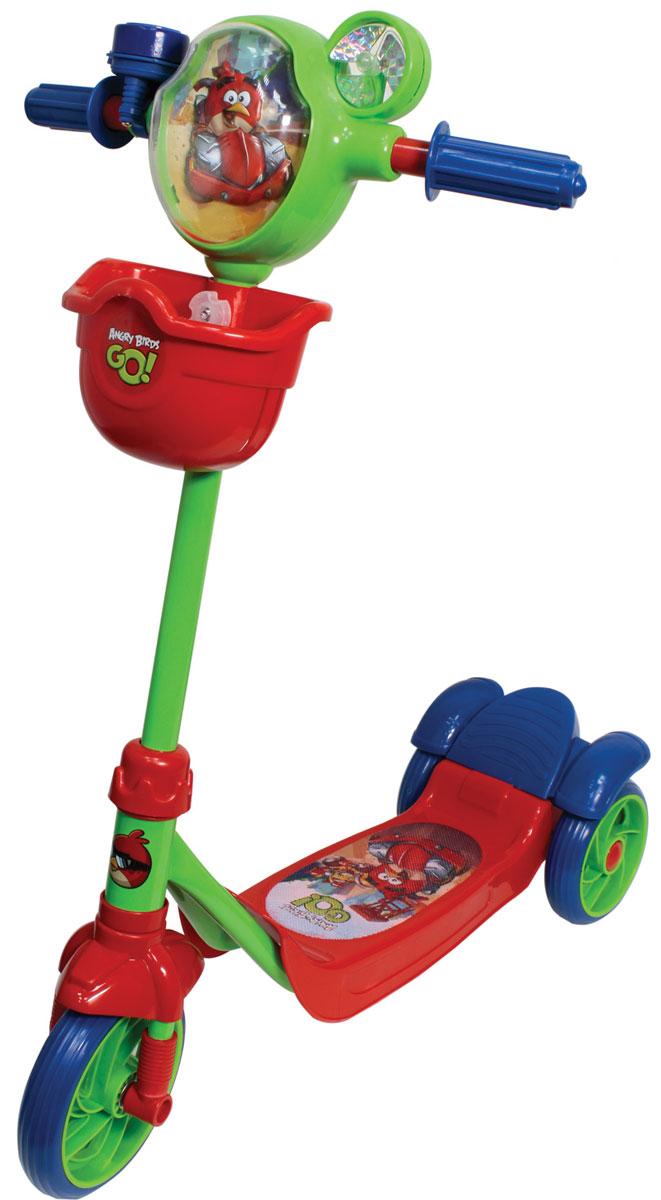 1TOY Самокат детский трехколесный Angry Birds цвет красный синий зеленыйТ57581Самокат 1toy Angry Birds Go 3-х колесный, корзина, тормоз, звонок, вентилятор, рельефный рисунок на голове