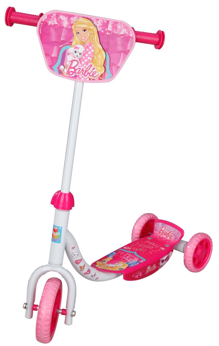1TOY Самокат детский трехколесный Barbie цвет белый розовыйТ56921самокат 1toy Barbie 3-х колесный, EVA колеса, декоративна панель