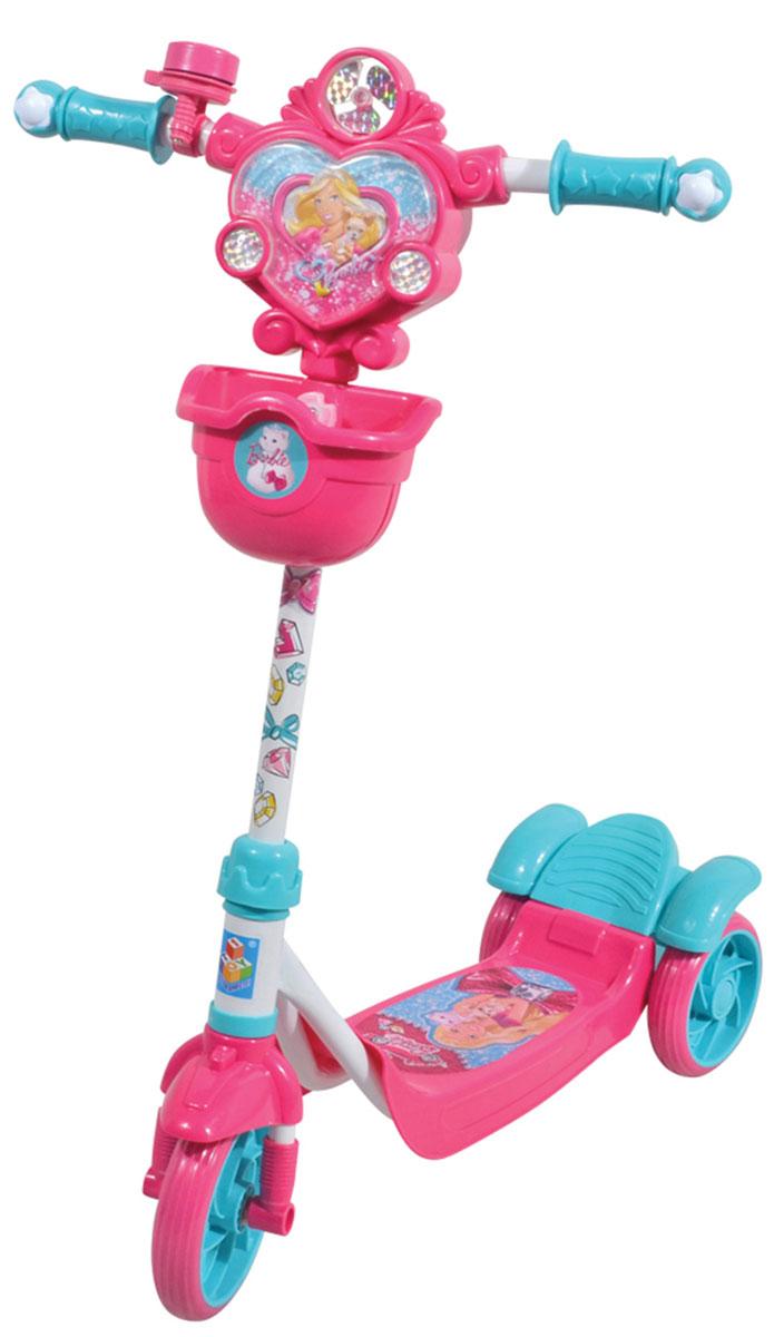 1TOY Самокат детский трехколесный Barbie цвет розовый голубой