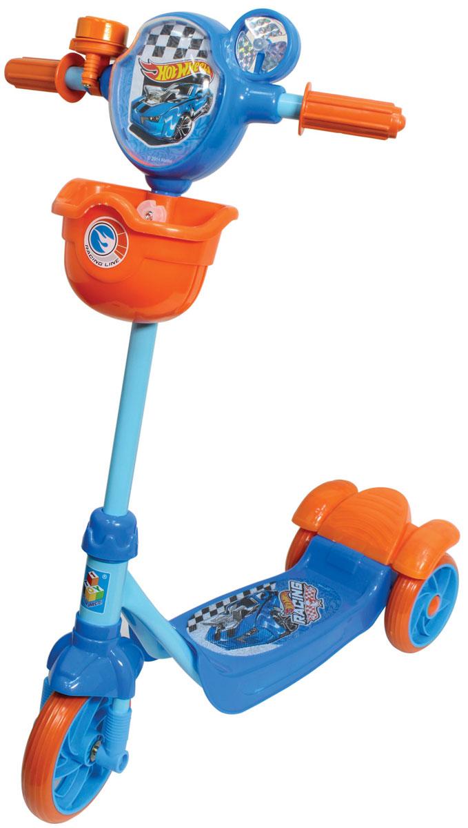 1TOY Самокат детский трехколесный Hot WheelsТ57577Самокат 1toy Hot wheels 3-х колесный, корзина, тормоз, звонок, вентилятор, рельефный рисунок на голове.