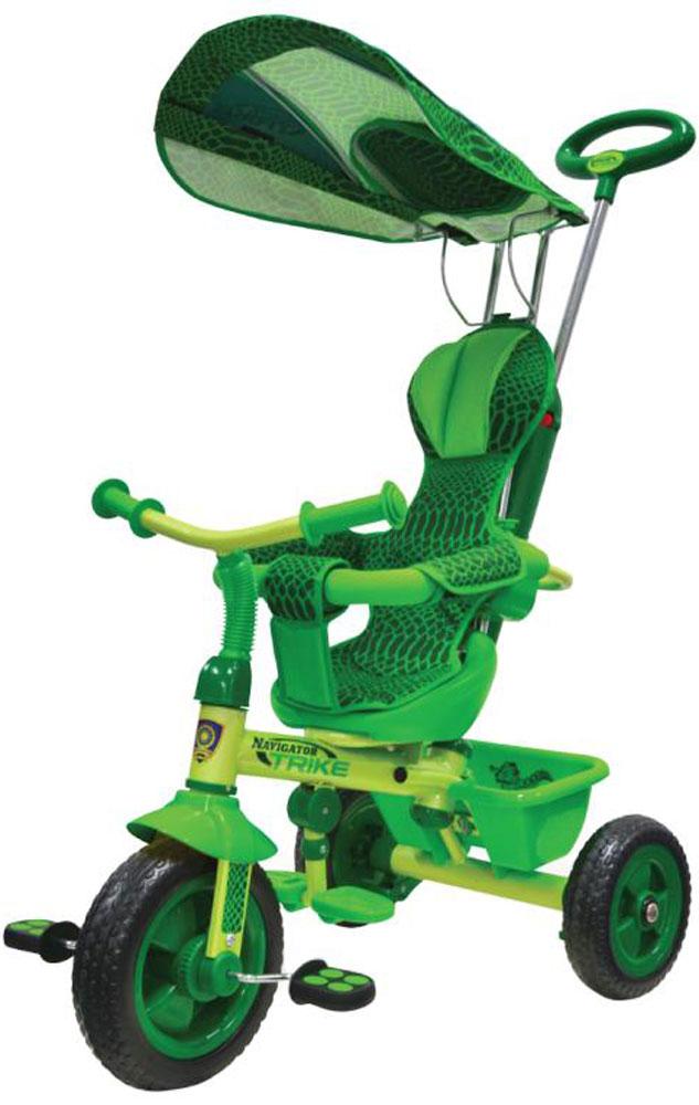 Navigator Велосипед детский трехколесный Lexus Trike Сафари цвет зеленыйТ56792Велосипед Navigator Lexus Trike серия Сафари 3-х колесный Пластиковые колеса, свободный ход педалей, тяга, независимая управляющая ручка, тент, регулируемое сиденье, подножка, тормоз, страховочный обод, звонок, корзина.