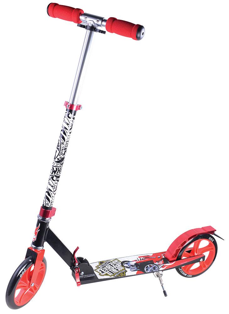 TopGear Самокат детский двухколесный Hot WheelsТ57607Самокат TOPGEAR Hot wheels, 2-х колесный. Алюминий, PU колеса 200мм, грузоподъемность до 100гк, подножка, тормоз.
