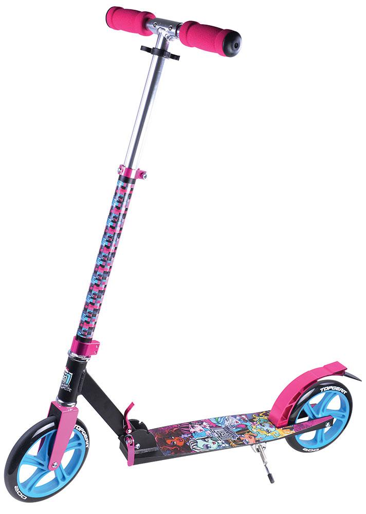 TopGear Самокат детский двухколесный Monster HighТ57606Самокат TOPGEAR Monster High, 2-х колесный. Алюминий, PU колеса 200мм, грузоподъемность до 100гк, подножка, тормоз.