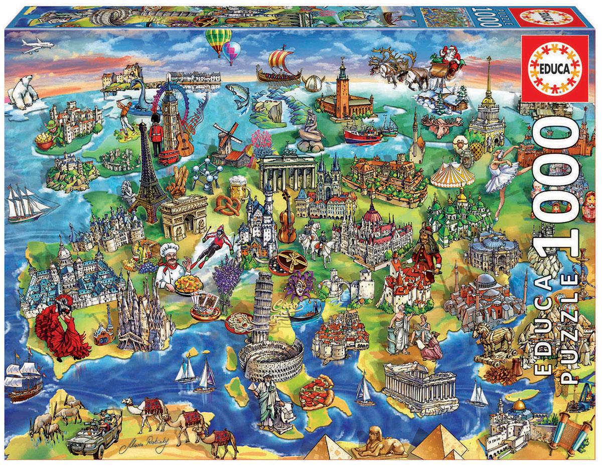 Educa Пазл Европейский мир16752Пазл 1000 деталей Европейский мир. Размер собранного пазла 68х48