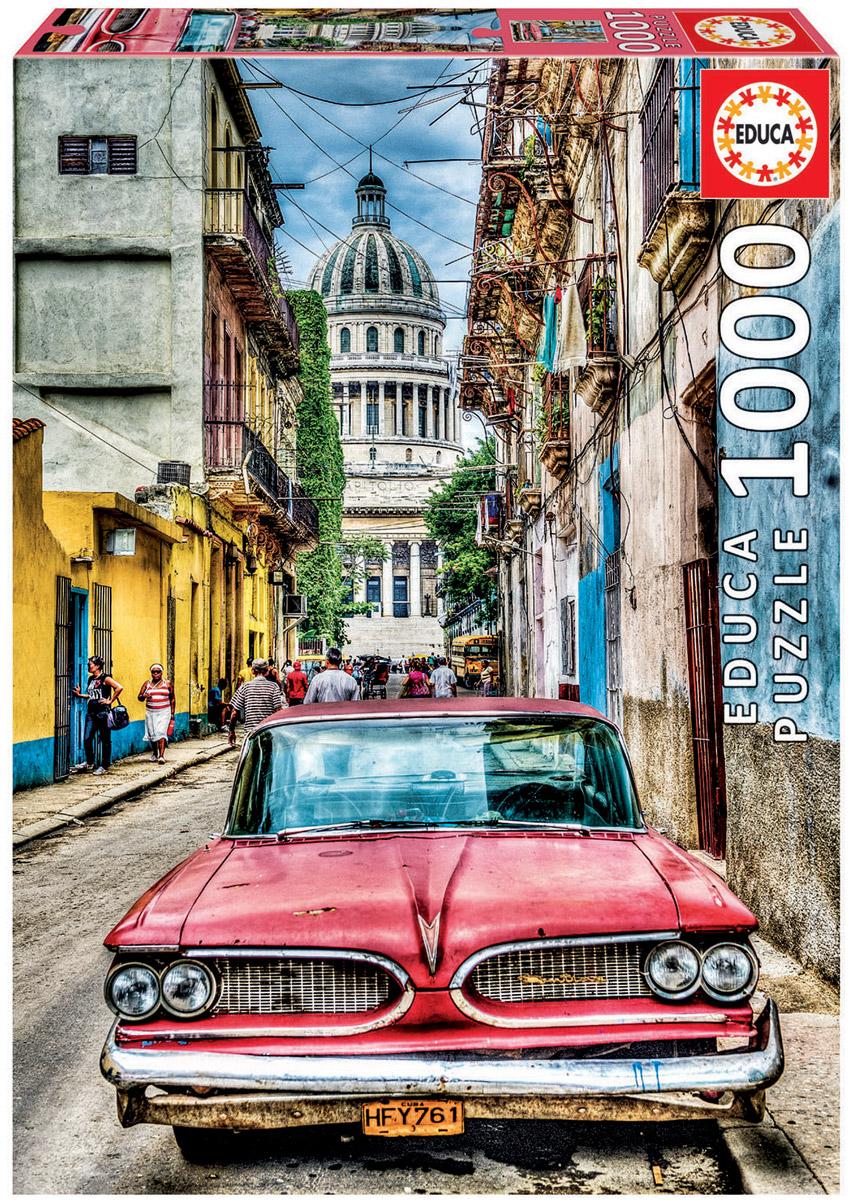 Educa Пазл Винтажное авто в старой Гаване16754Пазл 1000 деталей Винтажное авто в старой Гаване. Размер собранного пазла 68х48