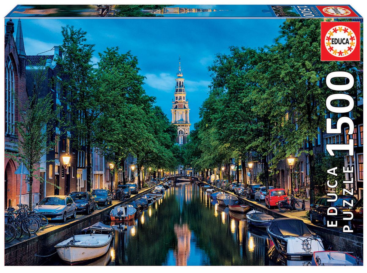 Educa Пазл Сумерки на канале в Амстердаме16767Пазл 1500 деталей Сумерки на канале в Амстердаме.Размер собранного пазла 85х60