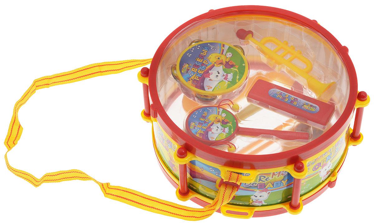 ABtoys Игровой набор Веселый оркестрD-00032(WL-5119)Игровой набор ABtoys Веселый оркестр вмещается в барабане. В набор входят: барабан (диаметр 27 см), 2 ударные палочки, труба, саксофон, бубен, маракасы, губная гармошка, погремушка. Инструменты изготовлены из яркой безопасной пластмассы. Малыш с радостью будет играть на этих веселых, ярких инструментах, совершенствуя при этом не только свой музыкальный слух, но и мелкую моторику.