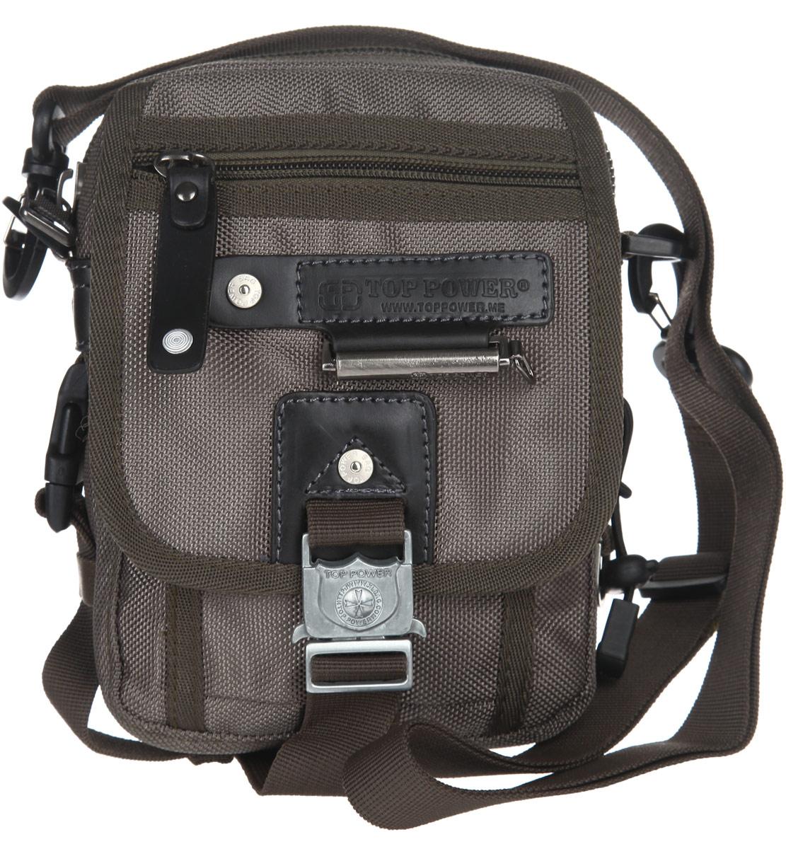 Сумка-планшет мужская Top Power, цвет: хаки. 1366 TP1366 TP khakiСтильная мужская сумка-планшет Top Power выполнена из плотного полиэстера и искусственной кожи, оформлена символикой бренда и металлической фурнитурой. Сумка имеет два отделения, каждое из которых закрывается на застежку-молнию. Внутри сумки расположены: накладной кармашек для телефона, сетчатый накладной карман, накладной карман для мелких документов и врезной карман на молнии. На лицевой стороне изделия расположен объемный карман, закрывающийся клапаном на замок-защелку. Под клапаном расположен накладной кармашек. Внешняя сторона клапана оснащена прорезным карманом на застежке-молнии. На задней стороне сумки расположен прорезной карман на молнии. Сумка оснащена съемным плечевым ремнем регулируемой длины. Стильная сумка - необходимый аксессуар для современного мужчины.