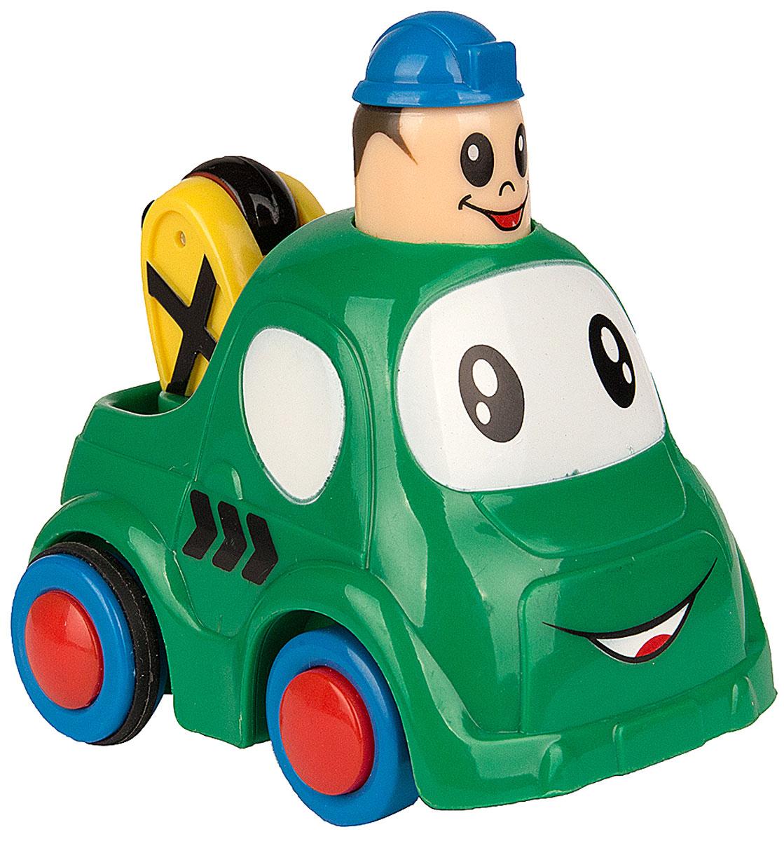 Simba Инерционная Мини-машинка с краном цвет зеленый4019516_зеленый кранМини-машинка Simba привлечет внимание вашего ребенка и надолго останется его любимой игрушкой. Плавные формы без острых углов, яркие цвета - все это выгодно выделяет эту игрушку из ряда подобных. Кузов дополнен небольшим подвижным краном. Игрушка оснащена инерционным ходом. Необходимо нажать на голову водителя и отпустить - и машинка быстро поедет вперед. Машинка развивает концентрацию внимания, координацию движений, мелкую моторику рук, цветовое восприятие и воображение. Малыш будет часами играть с этой игрушкой, придумывая разные истории.