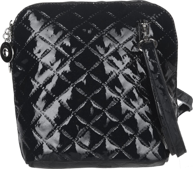 Сумка женская Antan, цвет: черный. 884884Стильная сумка Antan изготовлена из искусственной кожи с лакированным покрытием, оформлена декоративным тиснением и металлической фурнитурой. Изделие содержит одно отделение, закрывающееся на молнию. Внутри сумки расположены: накладной карман и карман-средник на молнии. Сумка оснащена съемным плечевым ремнем регулируемой длины. Оригинальный аксессуар позволит вам завершить образ и быть неотразимой.