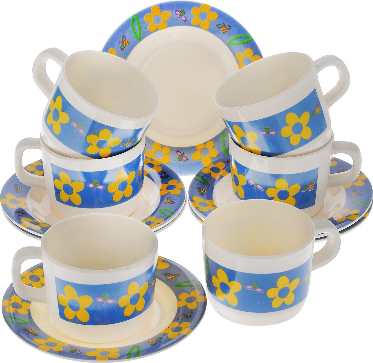 Набор чайный Calve, 12 предметовCL-2509Чайный набор Calve состоит из шести чашек и шести блюдец, выполненных из высококачественного пластика. Изделия оформлены цветочным рисунком. Изящный набор эффектно украсит стол к чаепитию и порадует вас функциональностью и ярким дизайном. Можно мыть в посудомоечной машине. Диаметр блюдца: 14,5 см. Объем чашки: 240 мл. Диаметр чашки (по верхнему краю): 8 см. Высота чашки: 6,5 см.