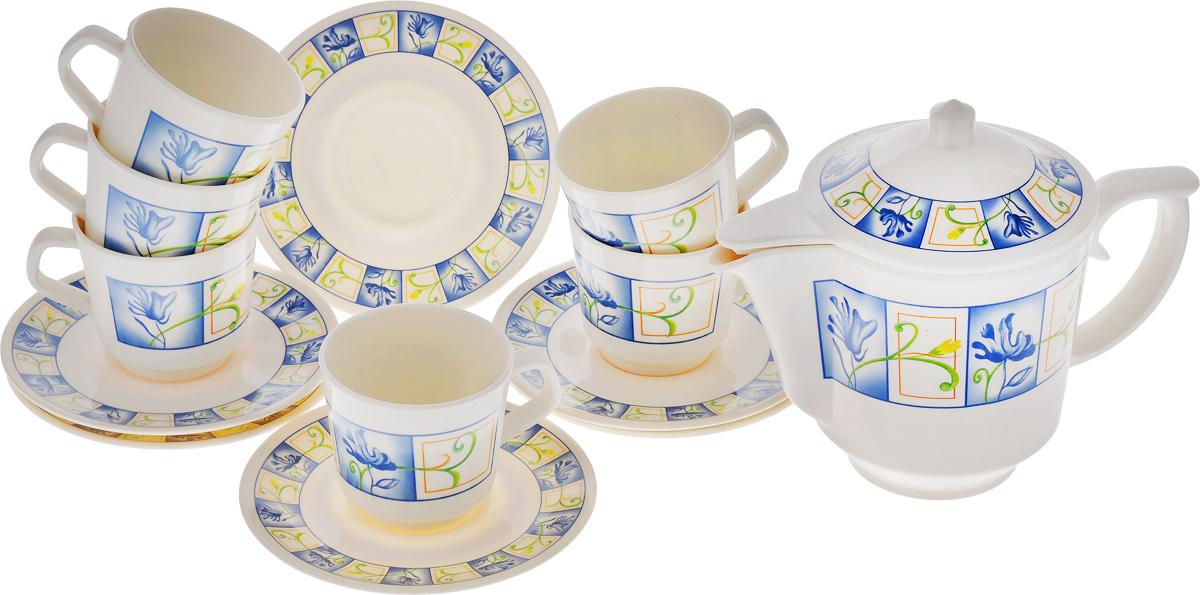Набор чайный Calve, 13 предметов. CL-2512CL-2512Чайный набор Calve состоит из шести чашек, шести блюдец и заварочного чайника, выполненных из высококачественного пластика. Изделия оформлены цветочным рисунком. Изящный набор эффектно украсит стол к чаепитию и порадует вас функциональностью и ярким дизайном. Можно мыть в посудомоечной машине. Диаметр блюдца: 14,5 см. Объем чашки: 200 мл. Диаметр чашки (по верхнему краю): 7,5 см. Высота чашки: 7,2 см. Объем чайника: 1 л. Высота стенок чайника: 12,5 см.