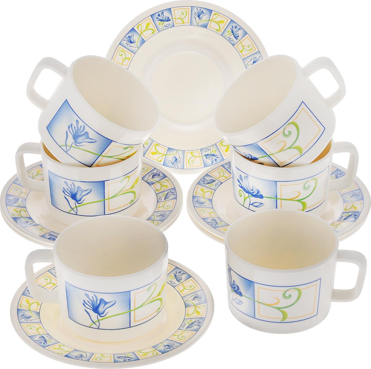 Набор чайный Calve, 12 предметов. CL-2510CL-2510Чайный набор Calve состоит из шести чашек и шести блюдец, выполненных из высококачественного пластика. Изделия оформлены ярким рисунком. Изящный набор эффектно украсит стол к чаепитию и порадует вас функциональностью и ярким дизайном. Можно мыть в посудомоечной машине. Диаметр блюдца: 16,5 см. Объем чашки: 330 мл. Диаметр чашки (по верхнему краю): 9 см. Высота чашки: 7 см.
