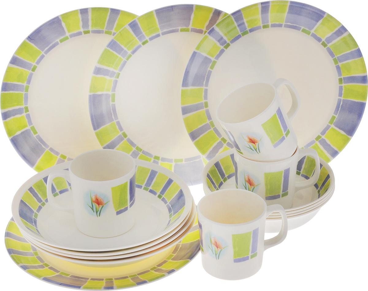 Набор столовой посуды Calve, 16 предметовCL-2513Набор Calve состоит из 4 суповых тарелок, 4 обеденных тарелок, 4 мисок и 4 чашек. Изделия выполнены из высококачественного пластика, имеют яркий дизайн с изящным орнаментом. Посуда отличается прочностью, гигиеничностью и долгим сроком службы, она устойчива к появлению царапин. Такой набор прекрасно подойдет как для повседневного использования, так и для праздников или особенных случаев. Набор столовой посуды Calve - это не только яркий и полезный подарок для родных и близких, а также великолепное дизайнерское решение для вашей кухни или столовой. Диаметр суповой тарелки (по верхнему краю): 23 см. Высота суповой тарелки: 4,5 см. Диаметр обеденной тарелки (по верхнему краю): 26,5 см. Высота обеденной тарелки: 1,7 см. Диаметр миски (по верхнему краю): 17,5 см. Высота миски: 4,5 см. Объем чашки: 355 мл. Диаметр чашки (по верхнему краю): 8,5 см. Высота чашки: 9 см.