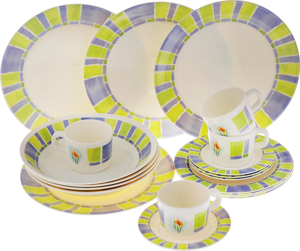Набор столовой посуды Calve, 20 предметовCL-2514Набор Calve состоит из 4 суповых тарелок, 4 обеденных тарелок, 4 десертных тарелок, 4 блюдец и 4 чашек. Изделия выполнены из высококачественного пластика, имеют яркий дизайн с изящным орнаментом. Посуда отличается прочностью, гигиеничностью и долгим сроком службы, она устойчива к появлению царапин. Такой набор прекрасно подойдет как для повседневного использования, так и для праздников или особенных случаев. Набор столовой посуды Calve - это не только яркий и полезный подарок для родных и близких, а также великолепное дизайнерское решение для вашей кухни или столовой. Диаметр суповой тарелки (по верхнему краю): 23 см. Высота суповой тарелки: 4,5 см. Диаметр обеденной тарелки (по верхнему краю): 26,5 см. Высота обеденной тарелки: 1,7 см. Диаметр десертной тарелки (по верхнему краю): 20 см. Высота десертной тарелки: 1,2 см. Диаметр блюдца (по верхнему краю): 14,6 см. Высота блюдца: 1,5 см. Объем чашки:...