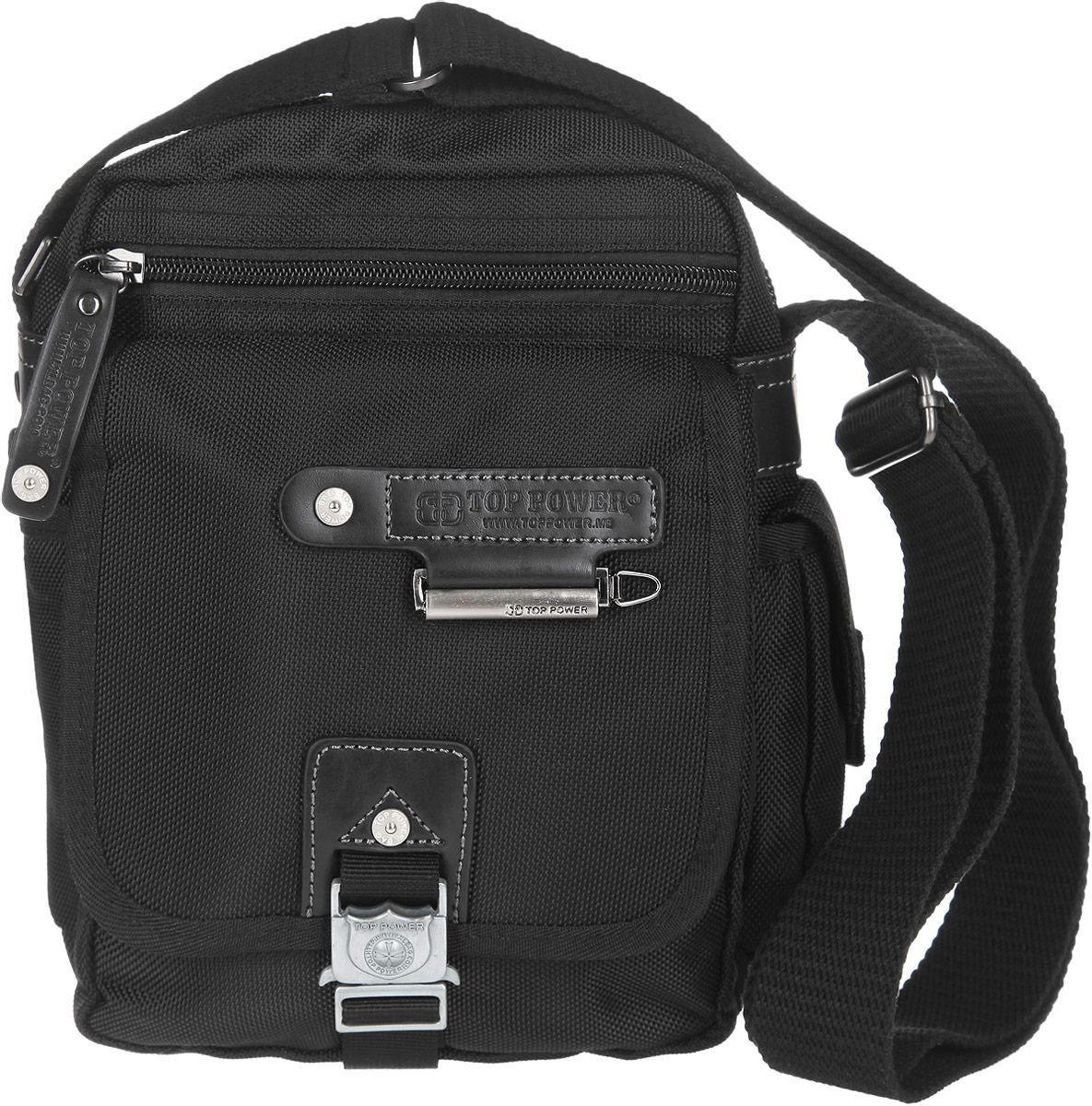 Сумка-планшет мужская Top Power, цвет: черный. 1385 TP1385 TP blackСтильная мужская сумка-планшет Top Power выполнена из нейлона, полиэстера и искусственной кожи. Изделие имеет одно основное отделение, которое закрывается на застежку-молнию. Внутри находятся прорезной карман на застежке-молнии, два накладных открытых кармана и накладной карман, закрывающийся на клапан с застежкой-липучкой. Снаружи, на передней стенке располагается прорезной карман на застежке-молнии, под клапаном с застежкой-защелкой - два накладных открытых кармана и два держателя для авторучек. По бокам накладные карманы, один из которых закрывается на застежку-липучку, второй - на клапан с застежкой-липучкой. На задней стенке предусмотрен дополнительный прорезной карман на застежке-молнии. Сумка оснащена текстильным плечевым ремнем регулируемой длины. Удобная и стильная сумка Top Power призвана подчеркнуть ваш неповторимый стиль.