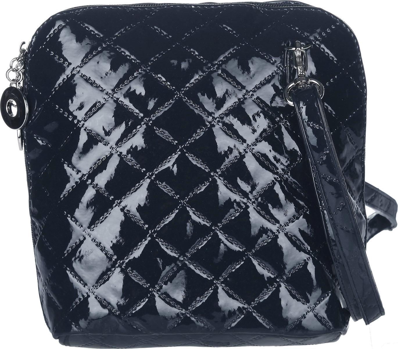 Сумка женская Antan, цвет: темно-синий. 884884Стильная сумка Antan изготовлена из искусственной кожи с лакированным покрытием, оформлена декоративным тиснением и металлической фурнитурой. Изделие содержит одно отделение, закрывающееся на молнию. Внутри сумки расположены: накладной карман и карман-средник на молнии. Сумка оснащена съемным плечевым ремнем регулируемой длины. Оригинальный аксессуар позволит вам завершить образ и быть неотразимой.