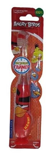Longa Vita Детская зубная щетка Angry Birds, музыкальная, от 3 лет, цвет: красный.TWA-2129919_красныйLonga Vita Детская зубная щетка Angry Birds, музыкальная, от 3 лет, цвет: красный.TWA-2