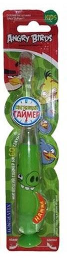Longa Vita Детская зубная щетка Angry Birds, музыкальная, от 3 лет, цвет: зеленый.TWA-2129919_зеленыйLonga Vita Детская зубная щетка Angry Birds, музыкальная, от 3 лет, цвет: зеленый.TWA-2