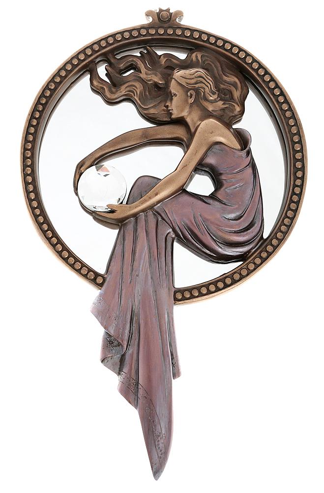 Зеркало дамское в стиле модерн. Композитный материал с бронзовым покрытием, прозрачный кристалл, зеркало, ручная работа. Fiesta Collection, Великобритания, 2000-е гг.