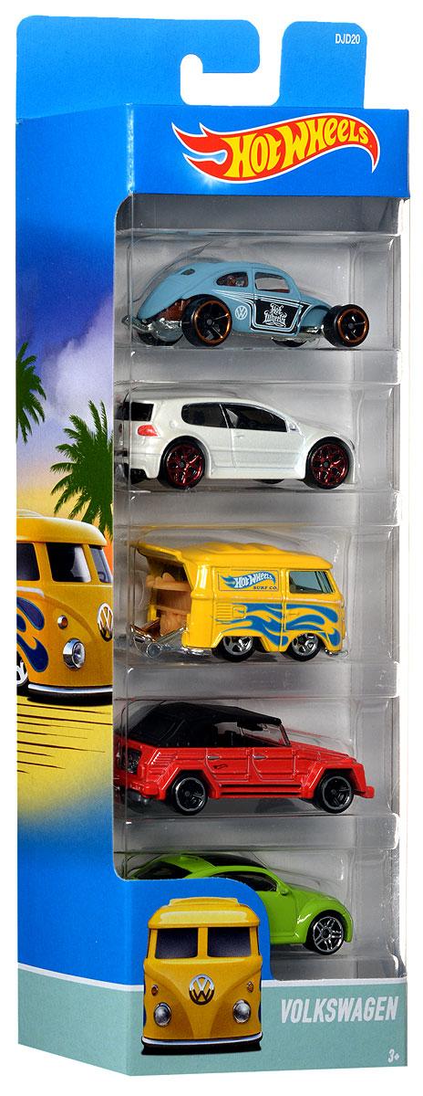 Hot Wheels Набор машинок Volkswagen 5 шт1806_DJD20Набор машинок Hot Wheels Volkswagen непременно придется по душе вашему ребенку, ведь модели повторяют внешний вид настоящих автомобилей Volkswagen! В набор входят 5 машинок, выполненных в стильном дизайне и оформленных аэрографией. Модели изготовлены из металла с использованием высококачественного пластика. Ваш ребенок часами будет играть с машинками, придумывая различные истории и устраивая соревнования. Порадуйте его таким замечательным подарком! Машинки могут не подходить к определенным трекам и игровым наборам Hot Wheels.